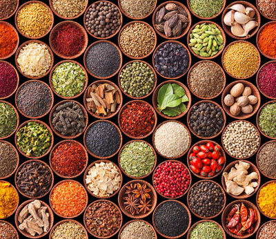bowls of different herbs and spices
