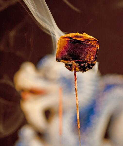 close up of moxa burning